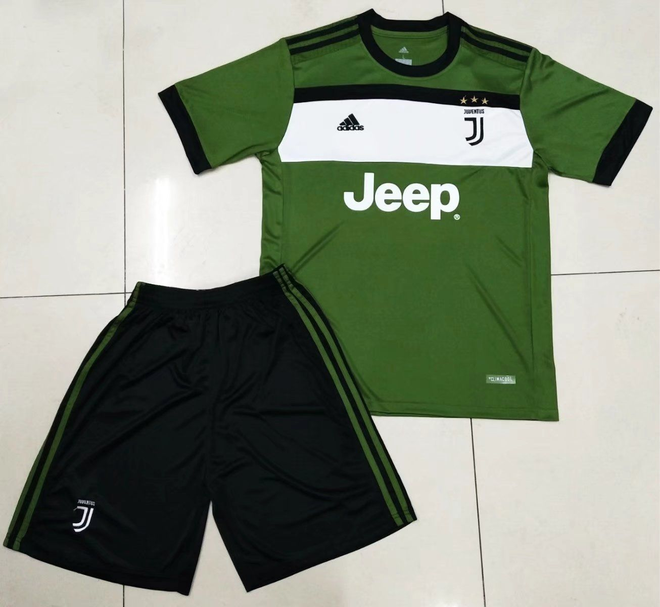 0b904ffae 2017 18 Adult Juventus Third Away Soccer Jersey Uniform Green Black ...