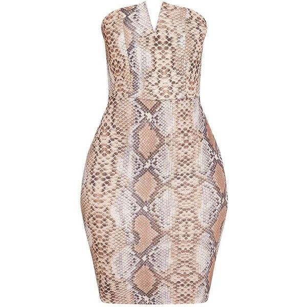 cc4d5426dd1 Michelle Taupe Snake Print Bandeau Dress ( 32) ❤ liked on Polyvore  featuring dresses