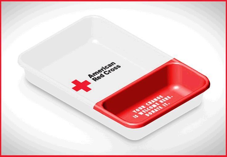 Case:Tray 有名広告専門学校マイアミアドスクールの学生が考案した赤十字への寄付金を募る施策。  街中で募金を求められた際に、小銭があるかどうかポケットの中を毎回チェックしようとする人はま