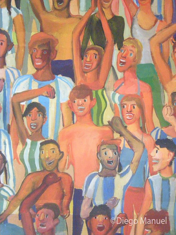 Gran Tribuna , acrylic on canvas, 130 x 95 cm, 2014 (detalle). By Diego Manuel