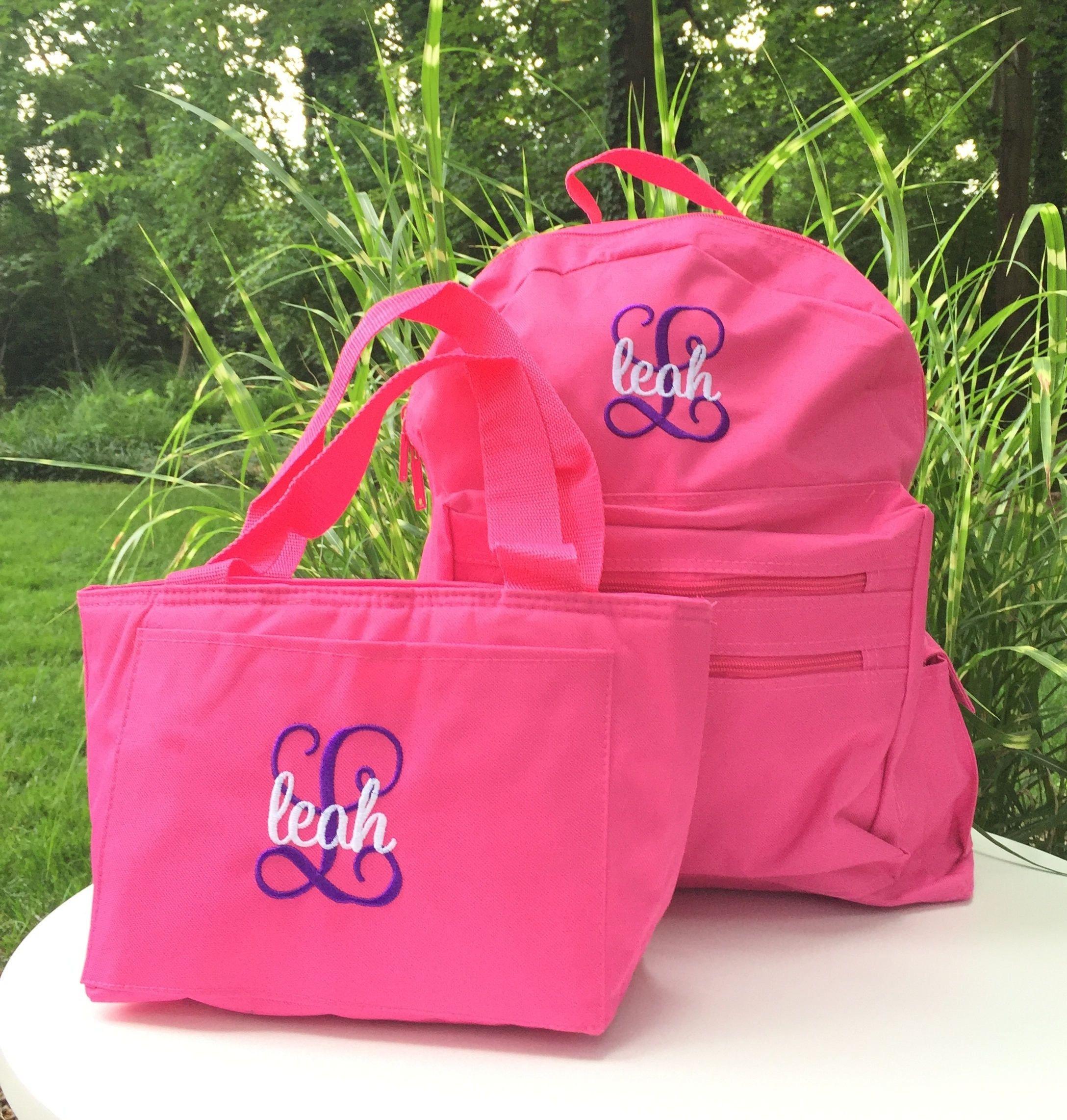 Personalized School Girls Back Pack - Monogrammed Backpack and Lunchbox - Book  Bag - Kids Children - Lunch Tote - Kid Back Pack - Child Bag by MJMonograms  ... 4a5409e9ef1c1