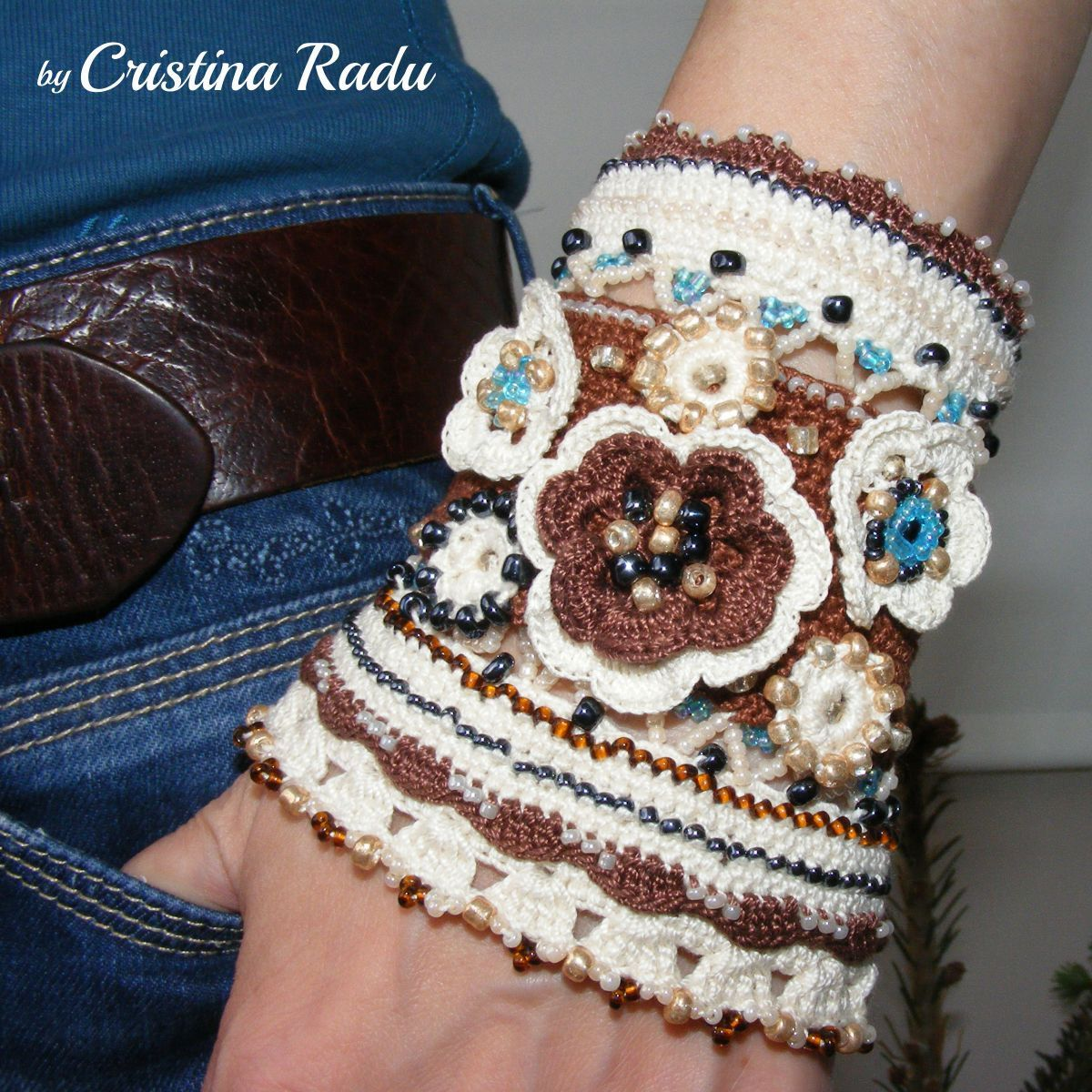 Bracelet boho chic crocheted, crochet boho cuff, ooak ethno chic wristband, brown and cream crochet bracelet, cotton bracelet for woman - pinned by pin4etsy.com