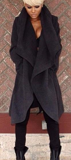 Big Lapel Irregular Casual Plus Size Woolen Coat