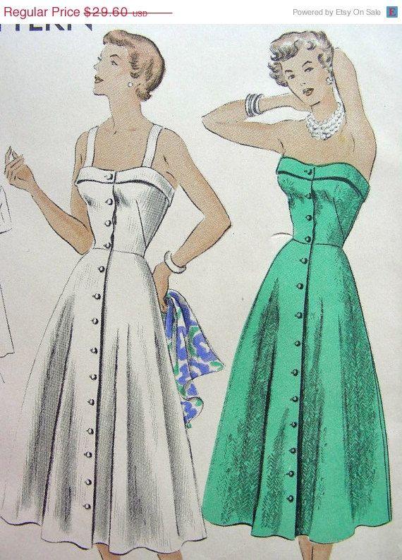 Vintage 50\'s VOGUE Sewing Pattern 6710 - Lovely STRAPLESS Sundress ...