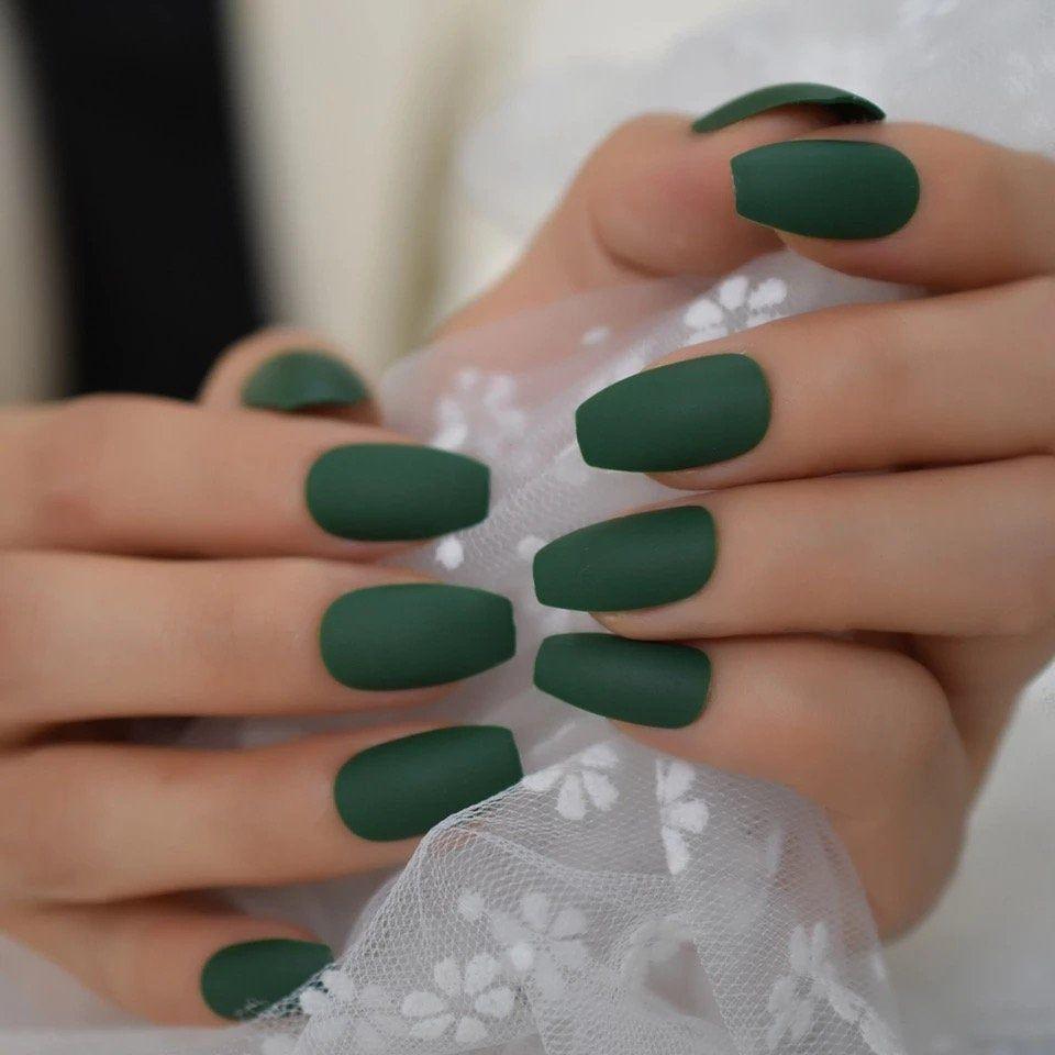 Ballerina Coffin Fake Nails Matte Green Flat Pree On False Nail Tips Daily Wear Faux Ongle Free In 2020 Green Acrylic Nails Matte Green Nails Matte Acrylic Nails