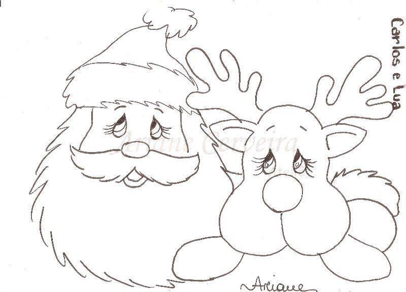 Riscos Para Pintar Renas Do Papai Noel Arte Natal Desenho