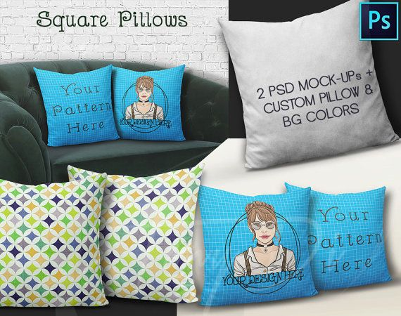 Sofa Sale Set of Square Pillows on Sofa Mock up PS Styled Product Background