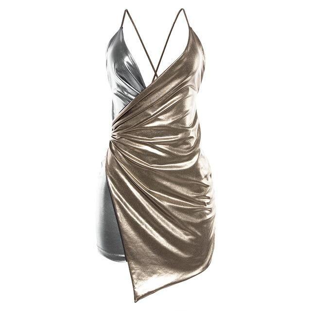 Deep V-Neck Party Dress Women Contrast Color Lace Up Backless Dress Summer Ruched Irregular Hem Dress Short Gold L #shortbacklessdress