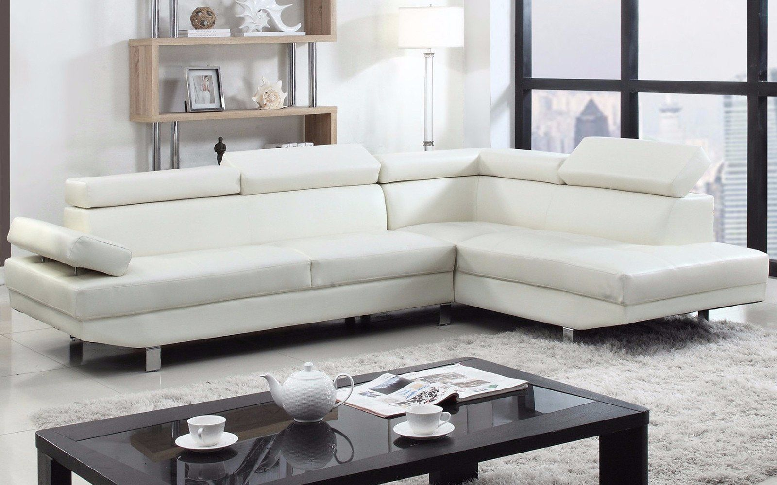 Albert Modern Bonded Leather Sectional With Right Chaise White Sectional Sofa Sectional Sofa Leather Sectional Sofas