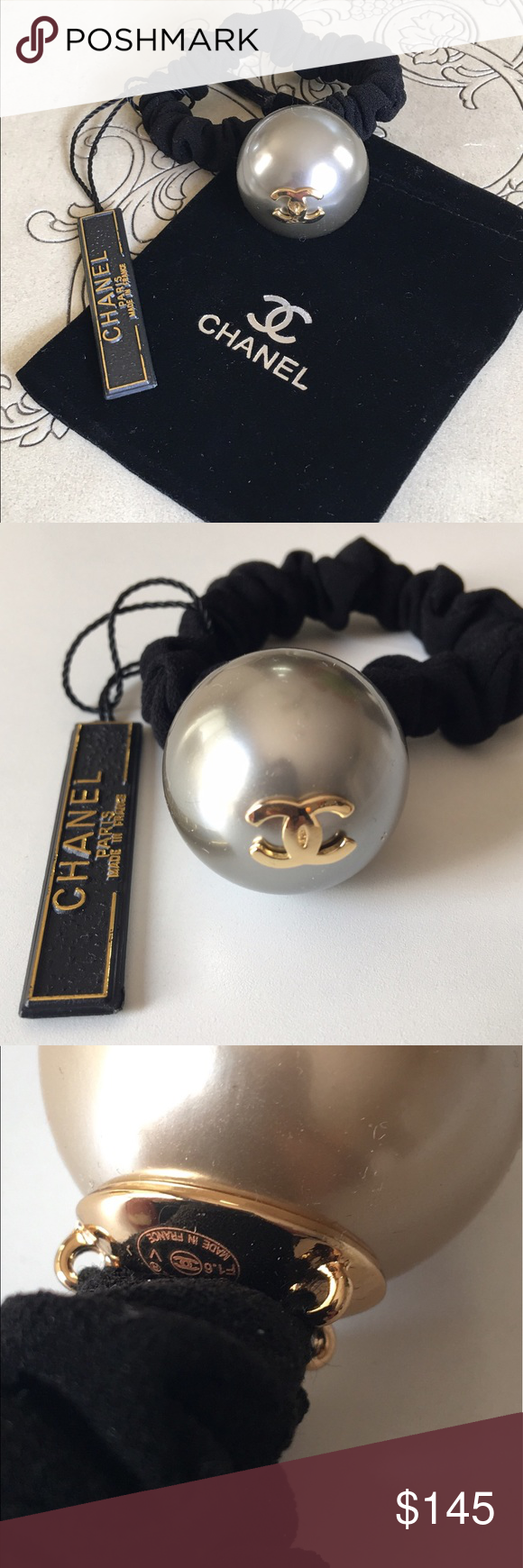 AUTHENTIC CHANEL HAIR PEARL SCRUNCHIE PONY HOLDER Authentic Chanel Large CC  Pearl Bobble Hair Band 9f7b722485d