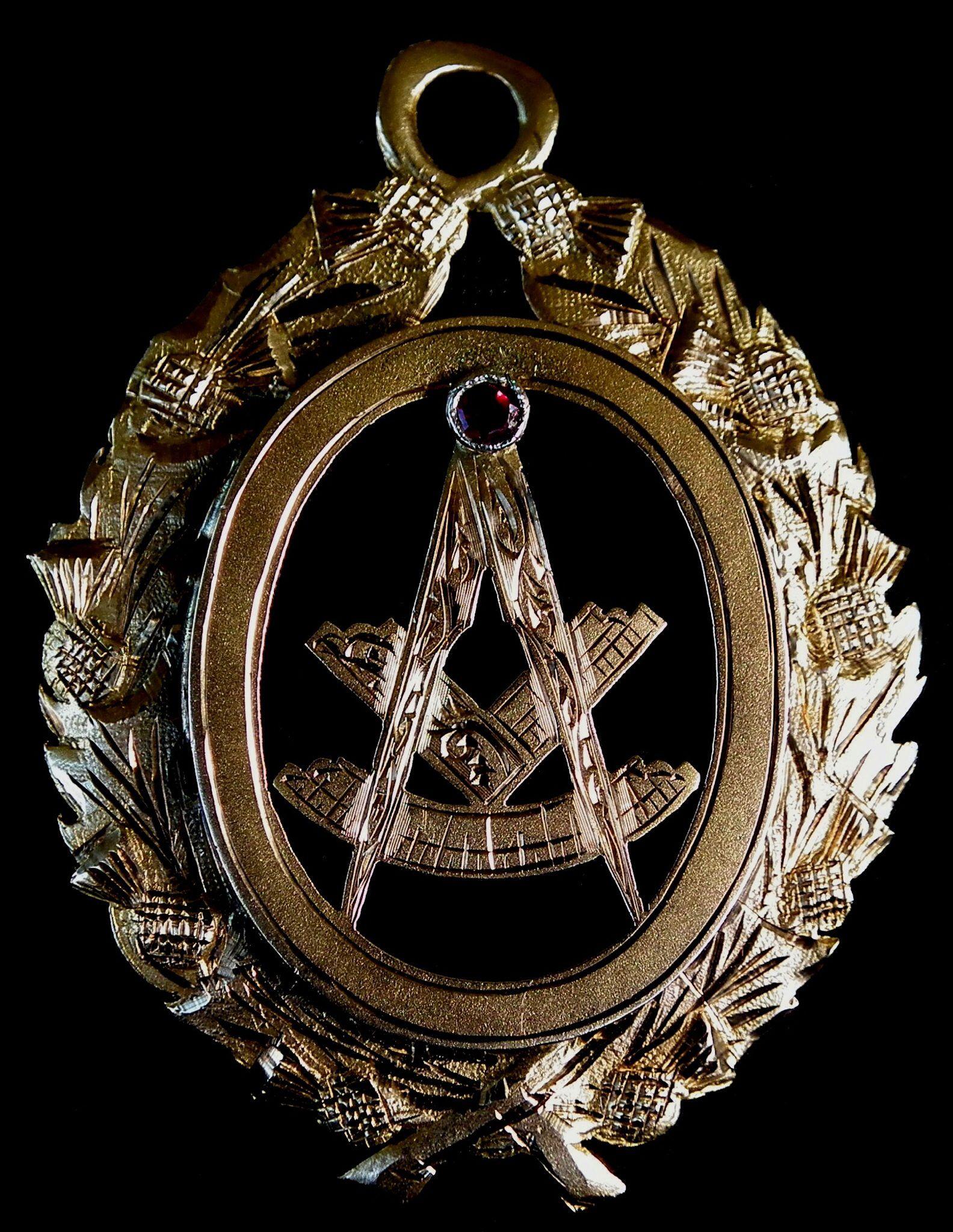 Old Masonic Past Master jewel.  Gold. Dated 1948.