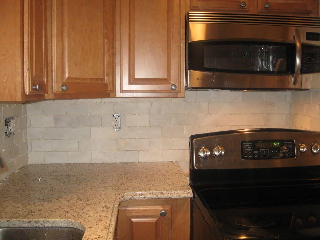 Beige Kitchen Cabinets Table Stools Marble Subway Tile Backsplash Re W