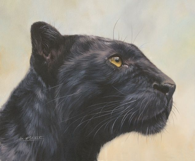 Black leopard painting by David Stribbling