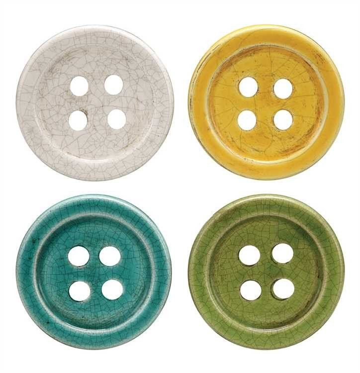 Terra Cotta Button Coasters ~ Cute, whimsical coasters are the perfect addition to your kitchen for entertaining guests or using ever day! Set of four!
