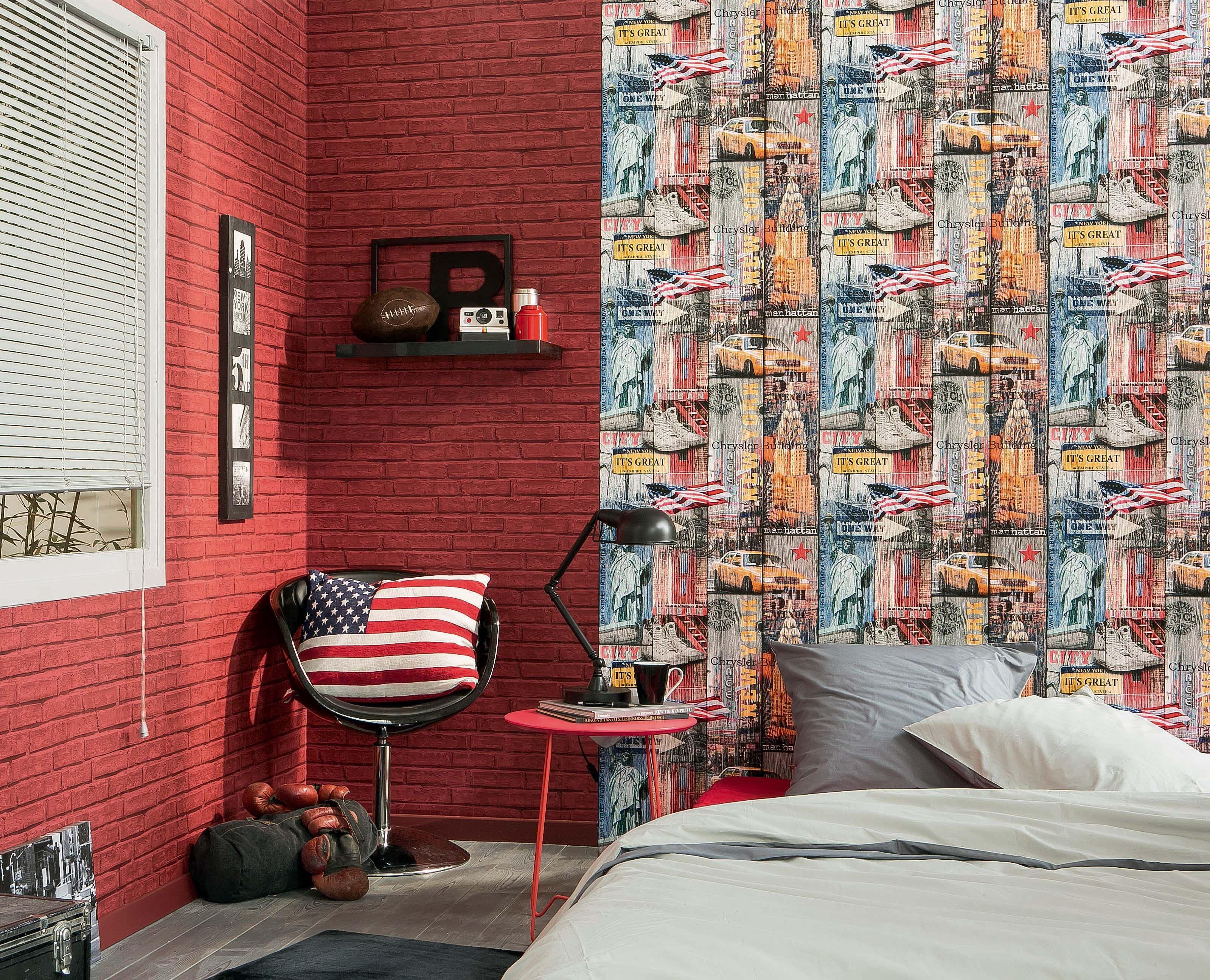 Chambre Ado Avec Papier Peint Brique assortiment d'un papier peint briques rouges avec un papier