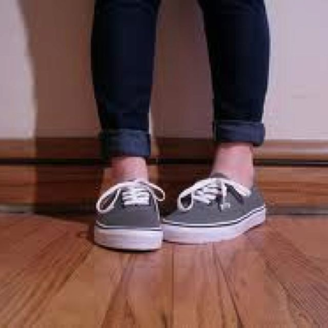 Cuffed jeans and vans