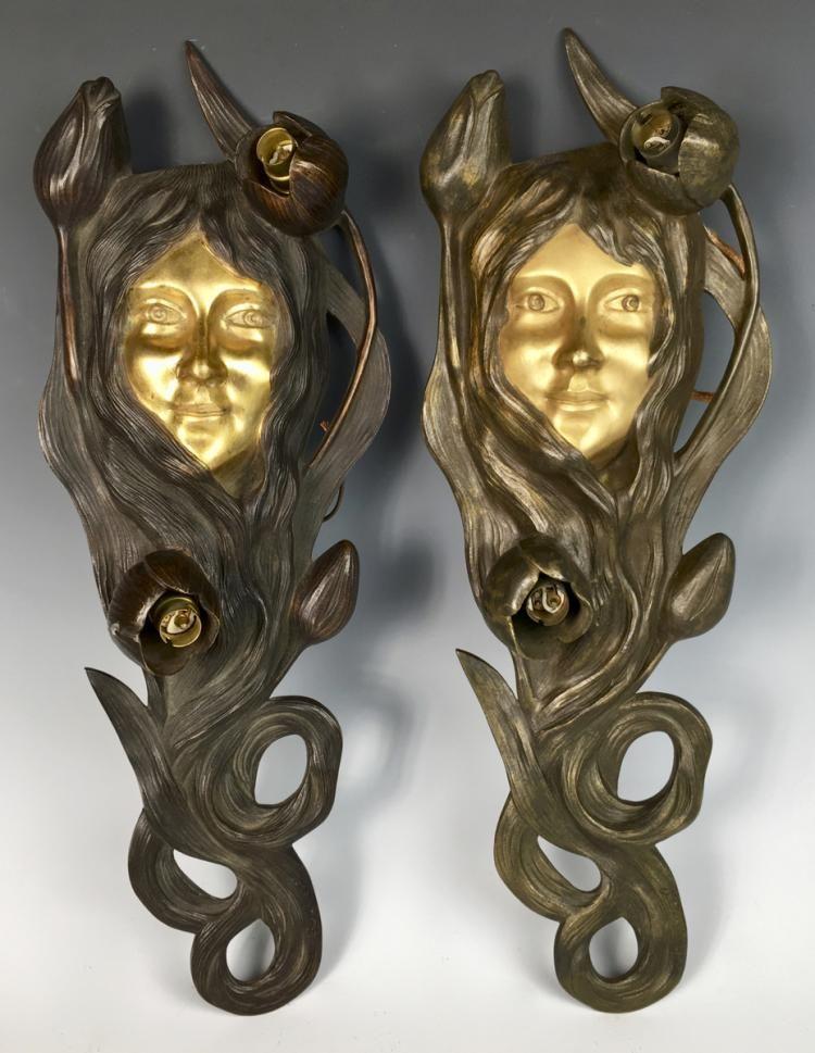 Bouval Art Nouveau Lady Face Wall Sconces Art Art Nouveau Antique Art