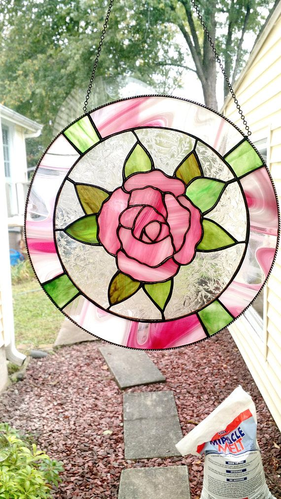Superb Stained Glass Rose Circle Panel With Border Tiffany Technique
