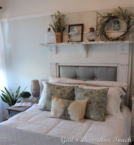 Creating a Beautiful Headboard from a Vintage Mantel   Diy furniture     Fireplace mantle headboard