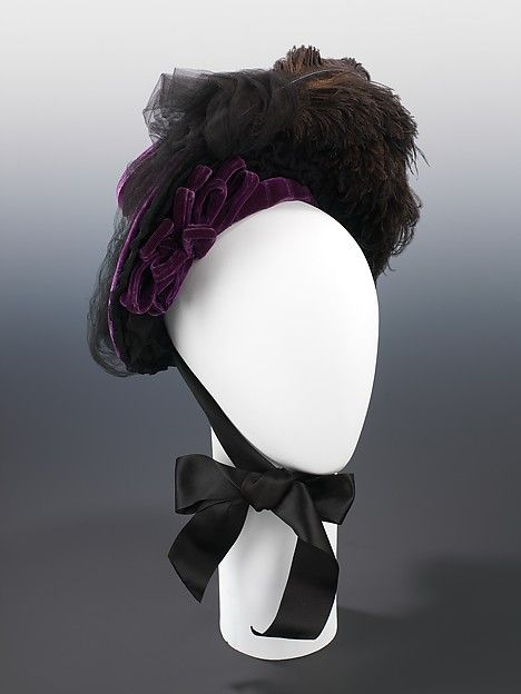 Mourning hat Designer: West's (American, founded 1853) Date: ca. 1888 Culture: American Medium: silk, feathers