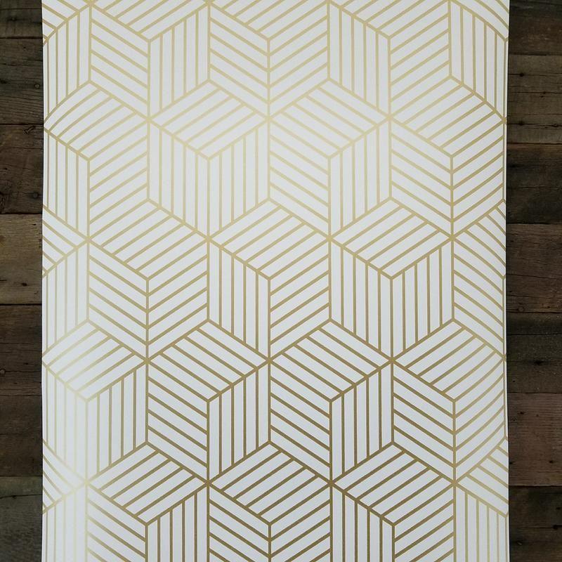 Geometric Gold Hexagon Peel And Stick Mid Century Modern Wallpaper Mid Century Modern Wallpaper Hexagon Wallpaper Modern Wallpaper