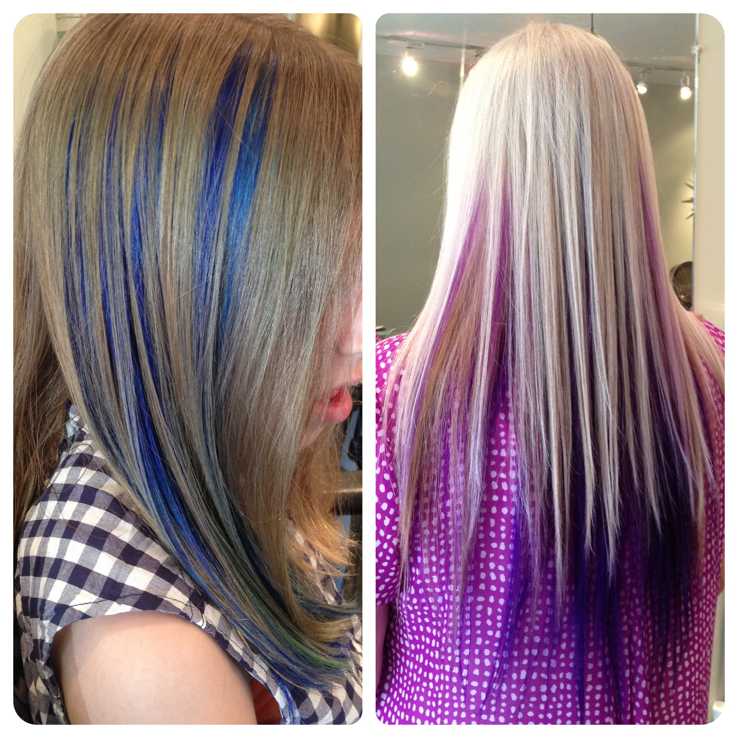 Blue and purple highlight peekaboo panels in brown and blonde hair