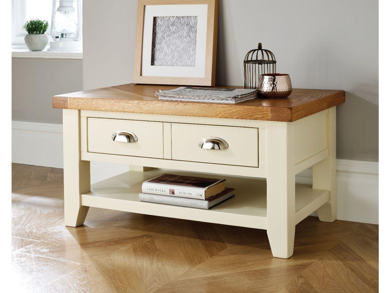 The Stunning Cream Painted Country Cottage Oak Coffee Table With Drawer This Coffee Table Is An Couchtisch Mit Schublade Couchtisch Bemalen Wohnzimmertische