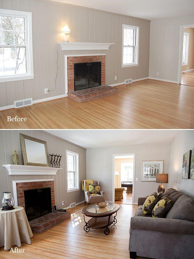 Living Room Wood Paneling Makeover: Before And After Living Room #livingroomremodelideasbudget