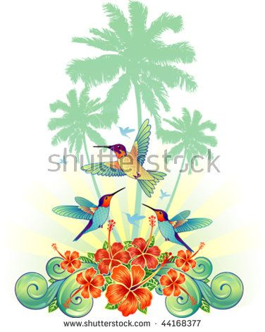 Tropical background with the humming-bird