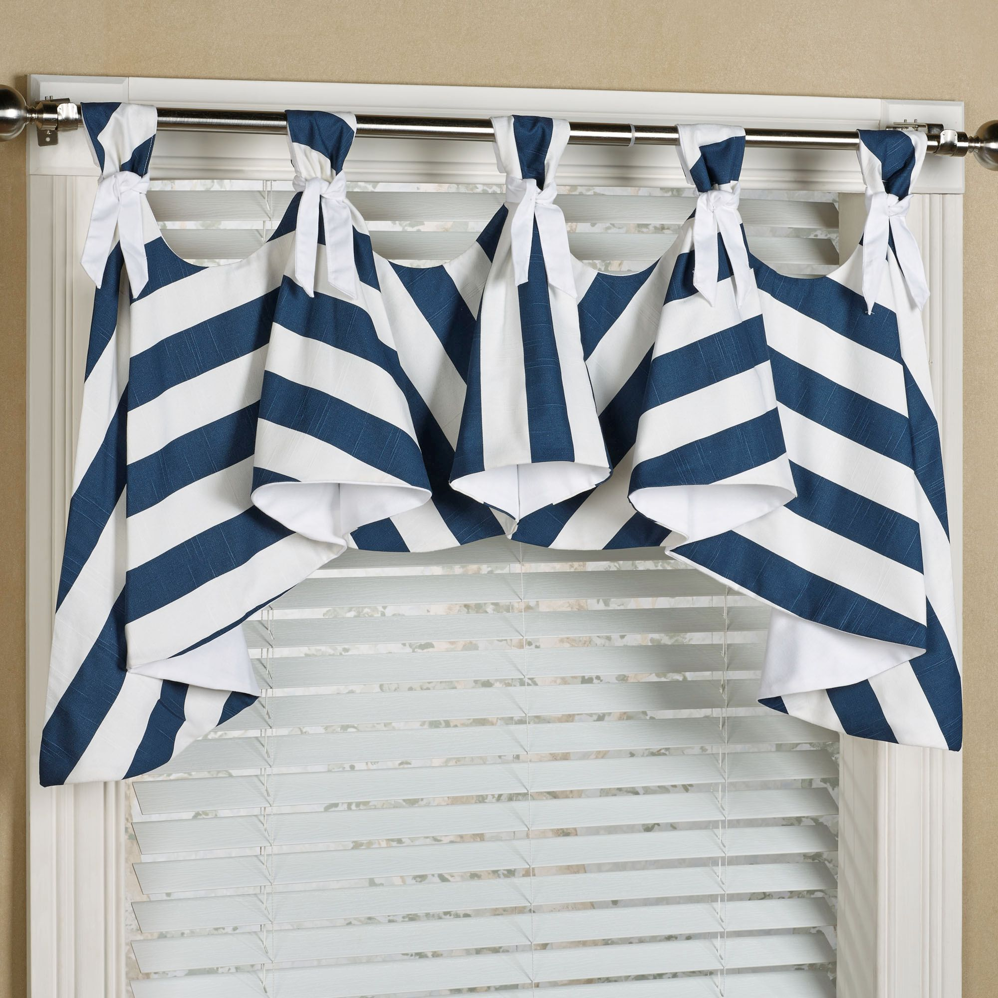 Seaboard Stripe Nautical Austrian Window Valance Window Valance