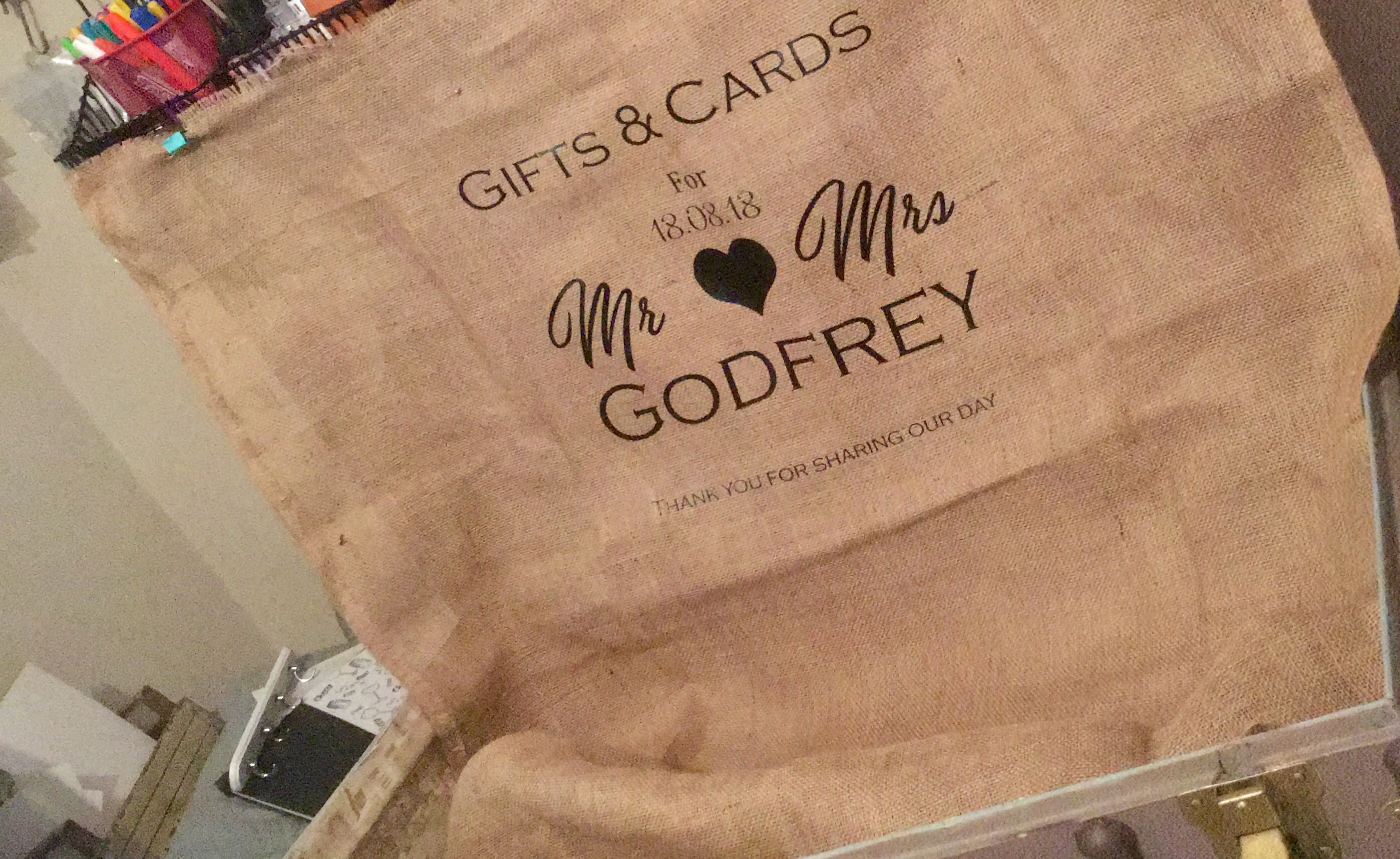 Personalised hessian attached to a vintage trunk is