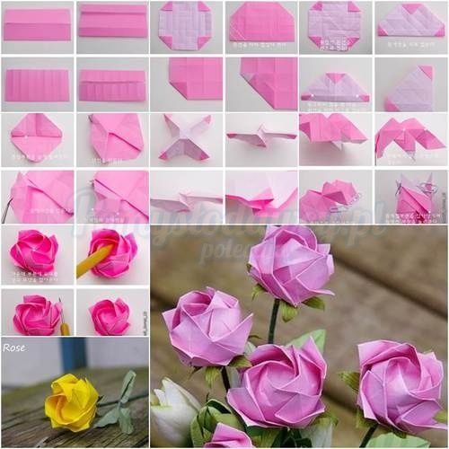 Pomysa Odawcy Pl Serwis Bardziej Kreatywny Origami Rose Origami Flowers Paper Flowers