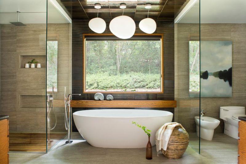 Asiatische Wandgestaltung Im Badezimmer Naturstein Und Holz