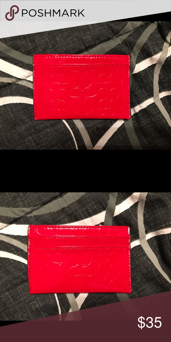 63cfc81abc45 Coach Card Holder Small Coach card holder in a shiny red leather. Never  used.
