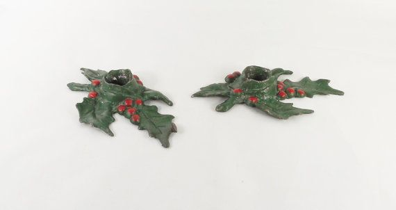 Cast Iron Holly Leaf Candlestick Holders 6 Pair by ShellyisVintage