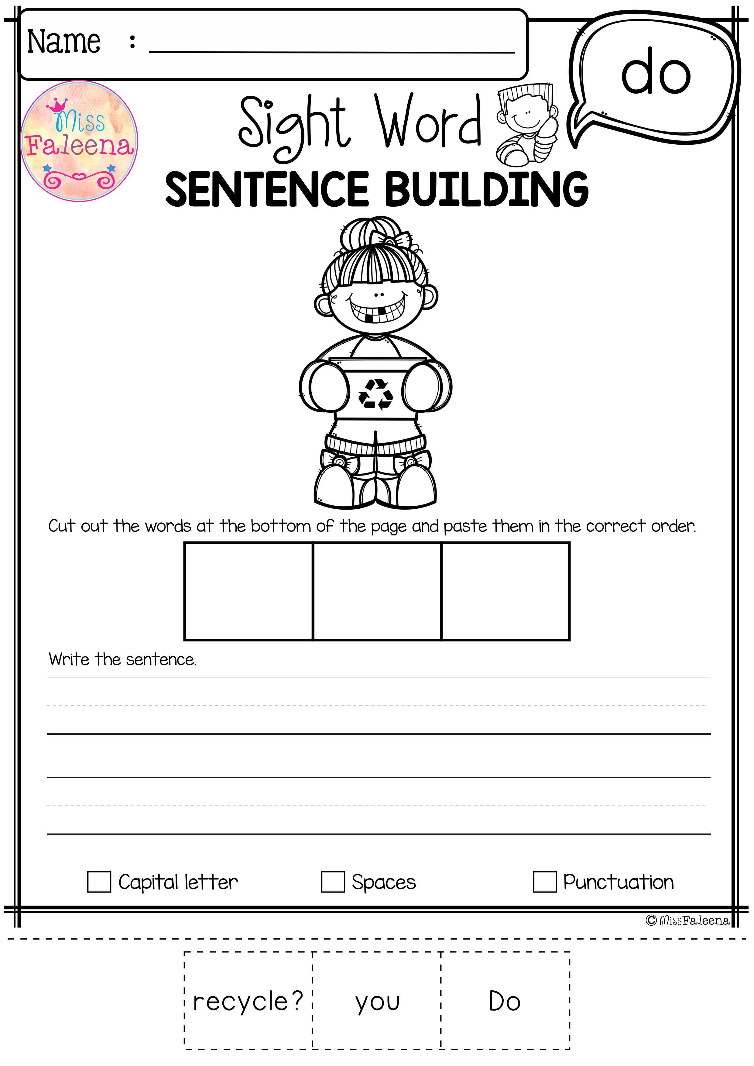 Free Sight Word Sentence Building Has 10 Pages Of Sentence Building Worksheets This Product Wi Sight Words Kindergarten Sentence Building Sight Word Sentences