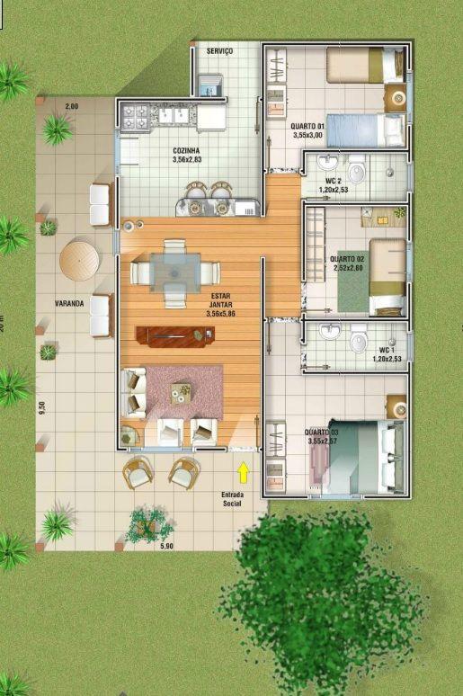 5 plantas de casas at 120m2 ch cara plantas de casas for Casa moderna 140 m2