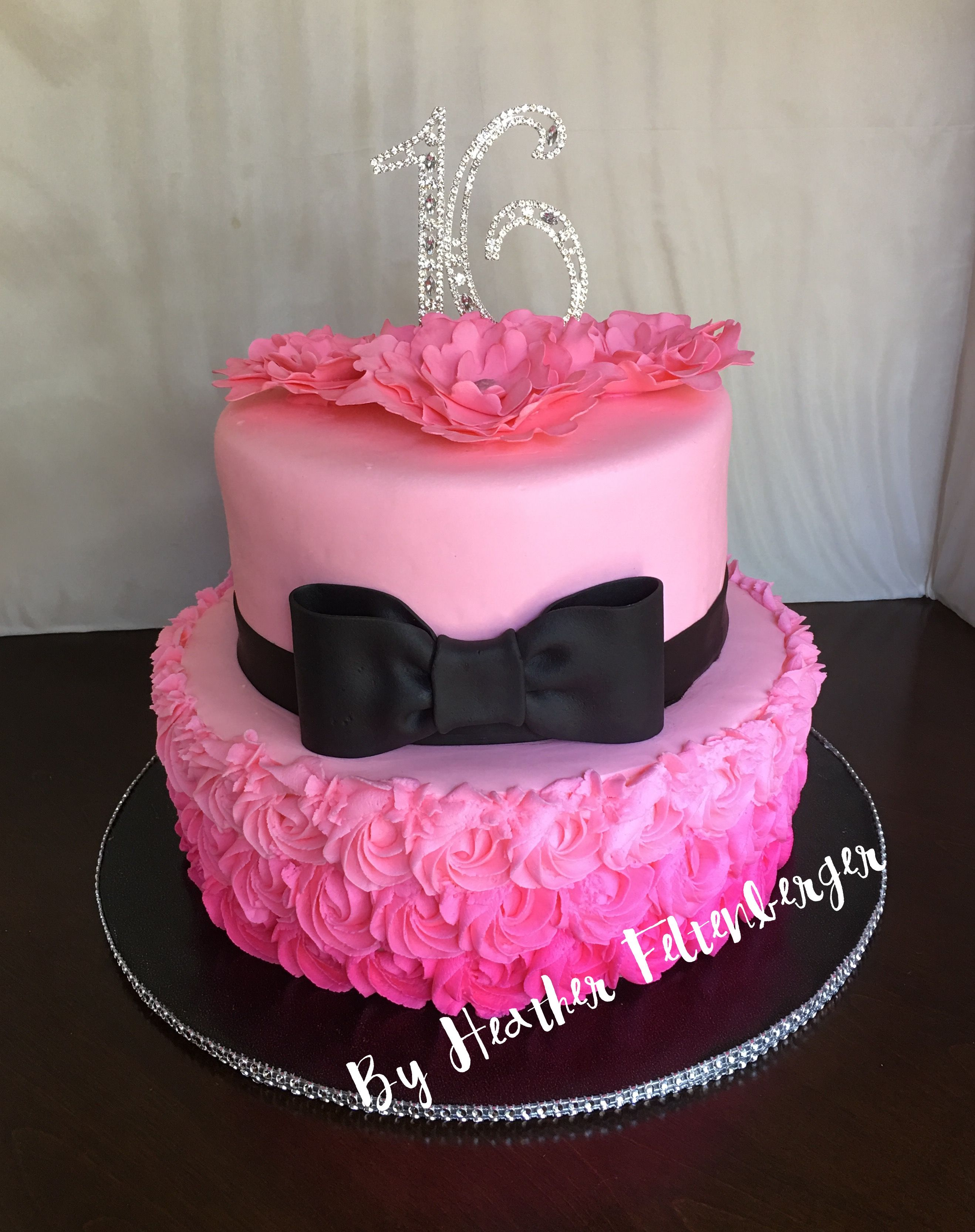 Pink Black Bling 2 Tier Sweet 16 Birthday Cake