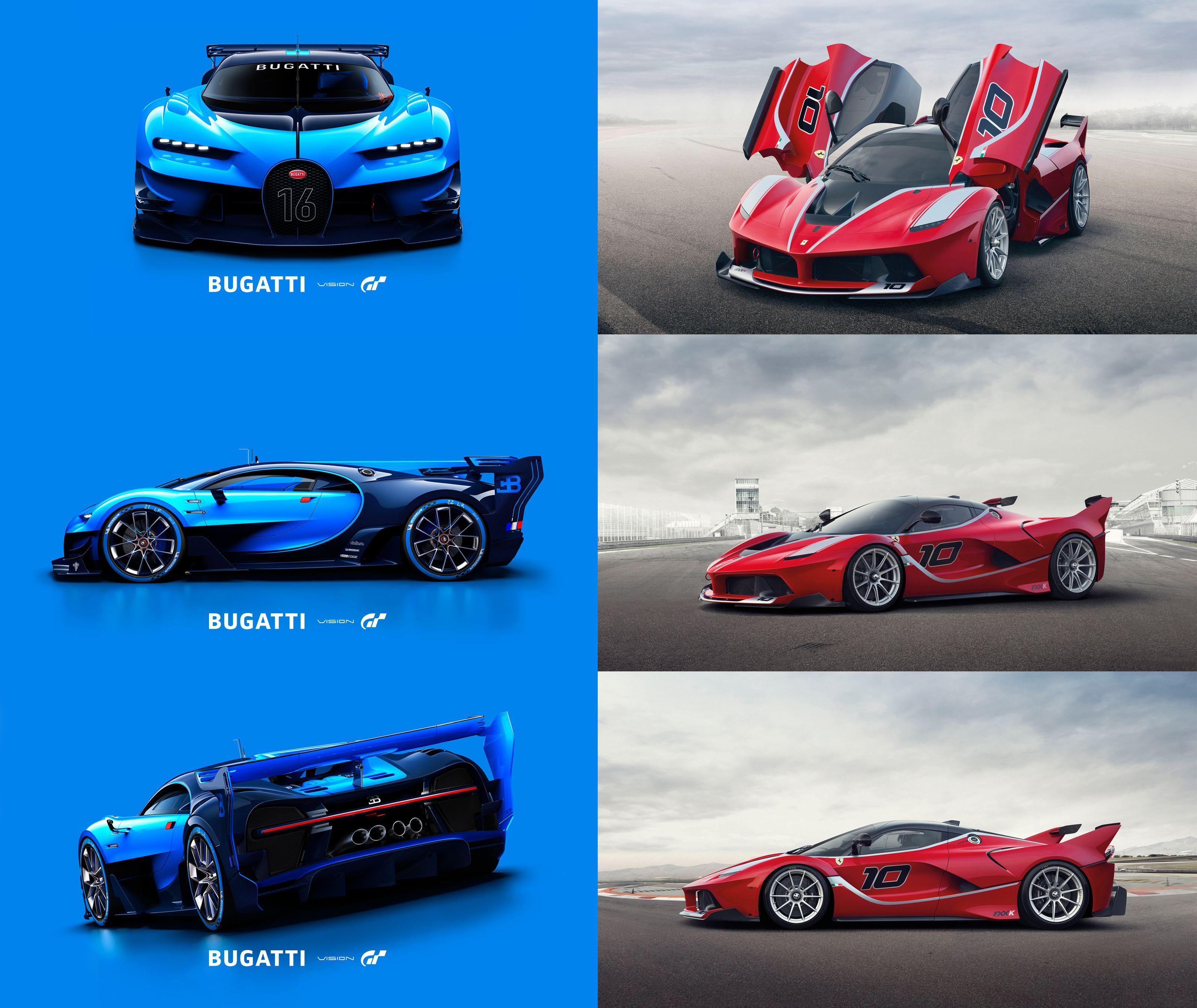 Bugatti Vision Gran Turismo VS Ferrari FXX K #Bugatti