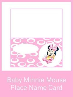 1st Birthday Party Minnie Mouse Place Name Card
