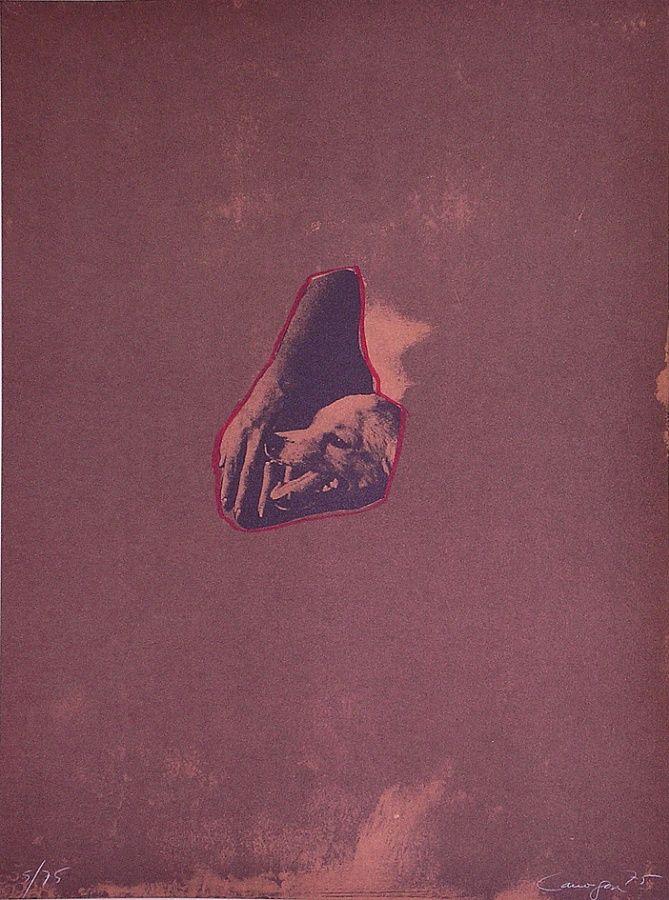 Composición con perro. 1975. Litografía + fotolito, 76 x 56 cm mancha, 76 x 56 cm soporte. 930 €.