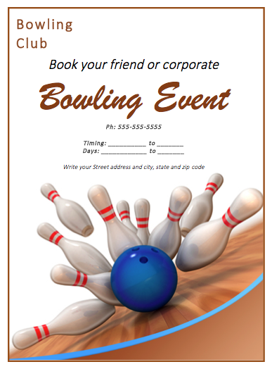 bowling match flyer template innovative designs pinterest