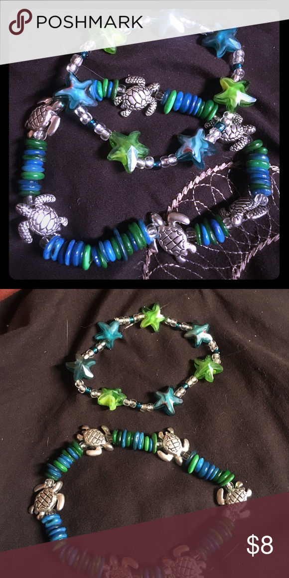 2 pack of summer bracelets One star and one turtle bracelet, perfect for the beach and summer or if you just love turtles' Jewelry Bracelets