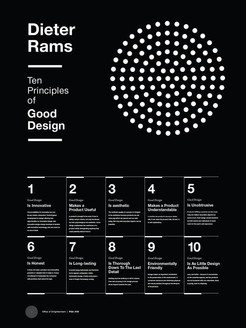 Dieter Rams 10 Principles of Good Design Poster Helvetica | Etsy