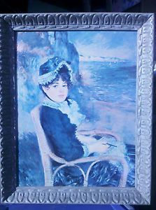 """Large Framed Canvas Print By Pierre-Auguste Renoir """"By The Seashore"""""""