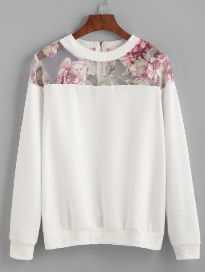 Sweat-shirt en mesh avec fermeture éclair fleurs-blanc- SheIn allemand (Sheinsi …   – fashion