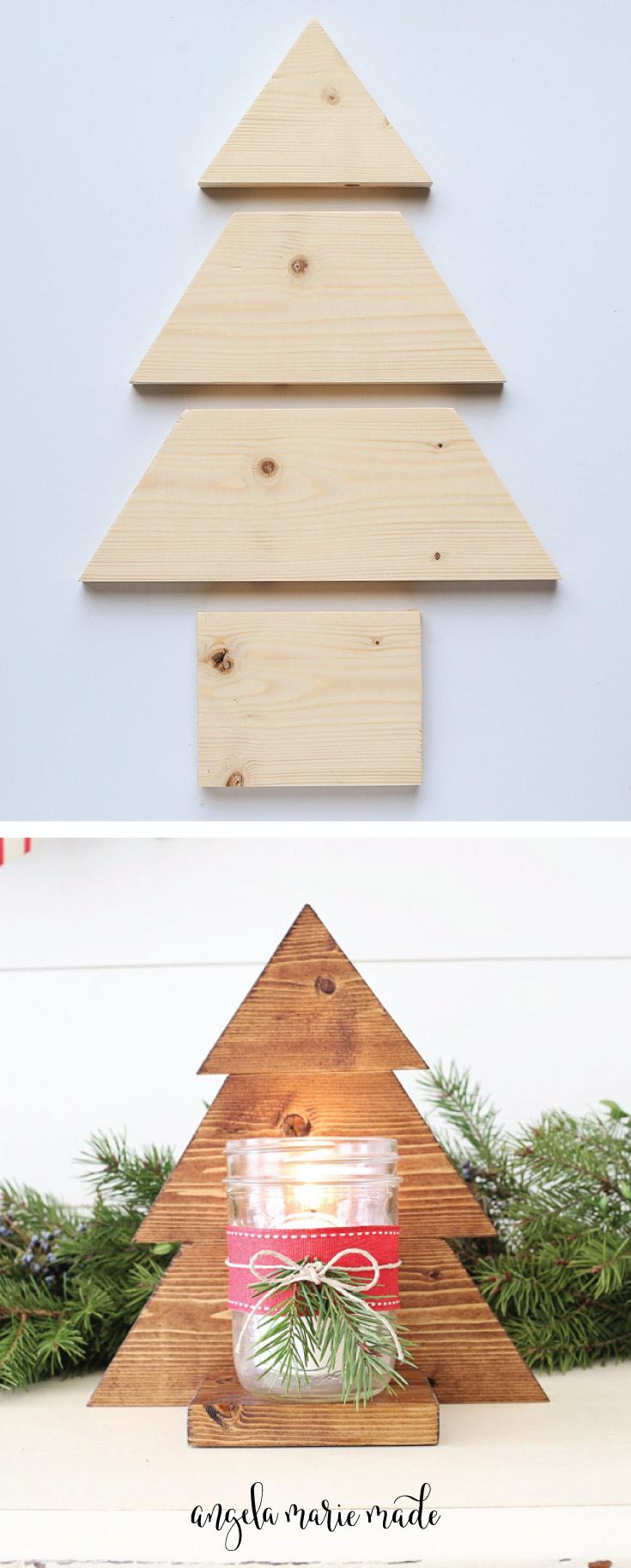 DIY Wood Christmas Tree Mason Jar Sconce (With images) | Wooden christmas trees, Wood christmas ...