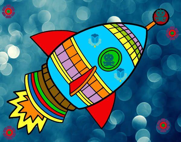Cohete De Astronauta Y Vintage De Dibujos Animados: Dibujo Cohete Espacial