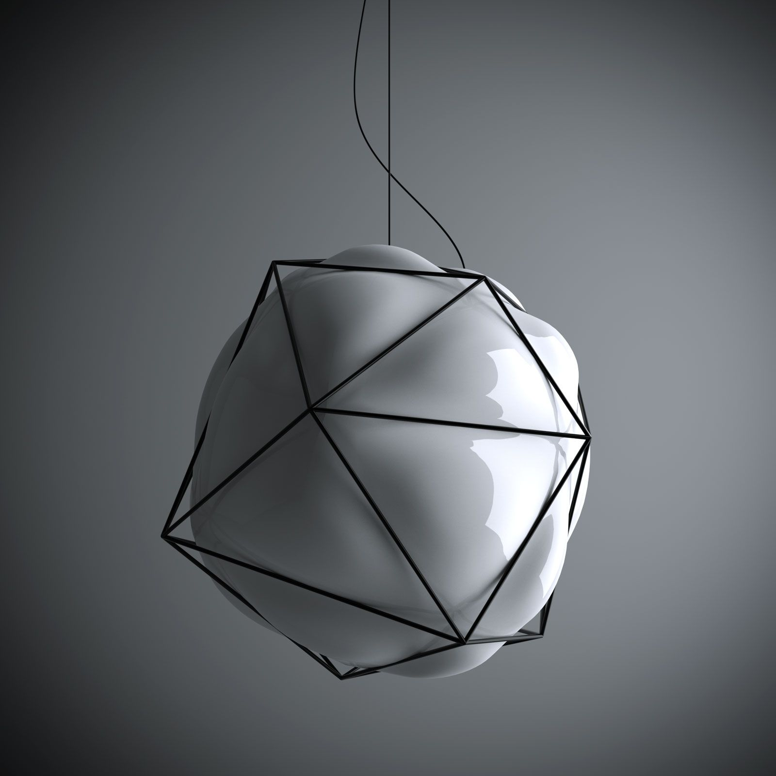 Valerio Sommella and Alberto Saggia; Enameled Metal and Blown Glass 'Semai' Ceiling Light, 2009.