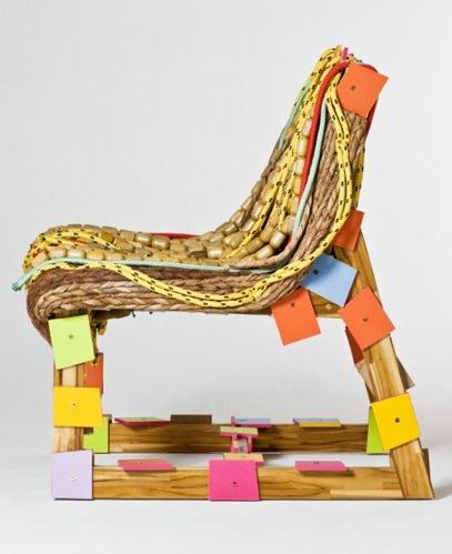 Oxum chair / wood, banana fiber and rope - 2009